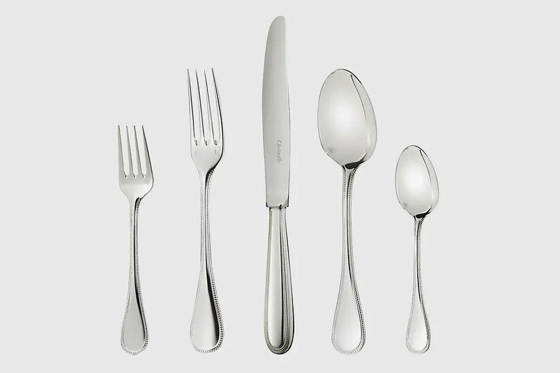 Christofle Perles Silver-Plated 5-Piece Flatware Set