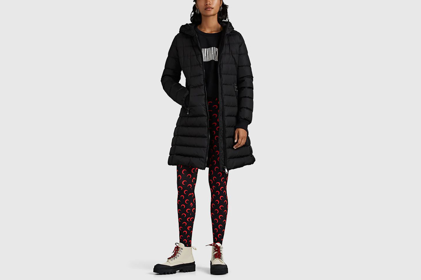 Moncler Talev Leather-Trimmed Down-Quilted Puffer Coat