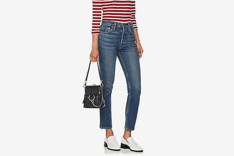 RE/DONE Stretch High Rise Ankle Crop Jeans