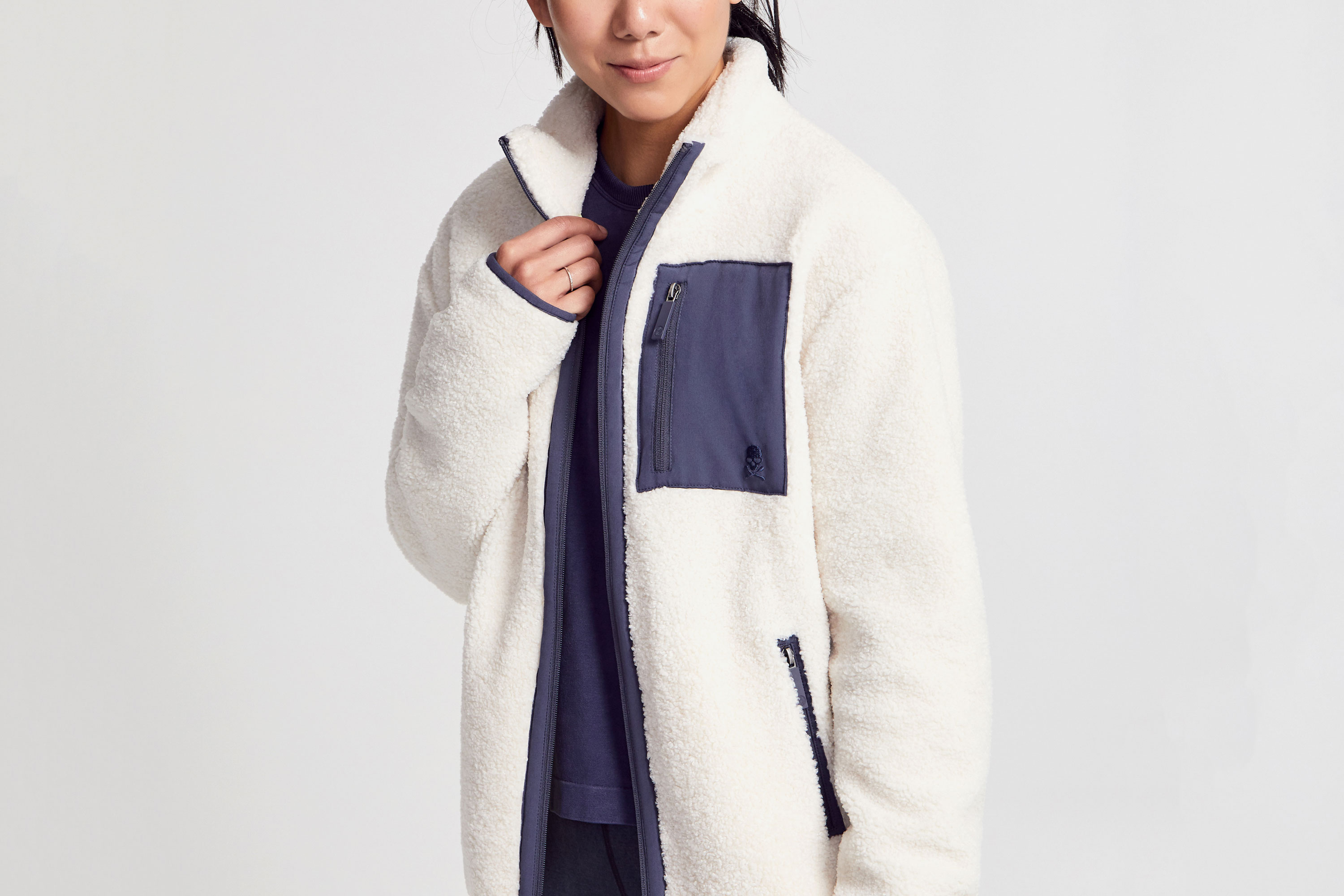 Soul by SoulCycle White Shearling Tri-Tone Zip-Up