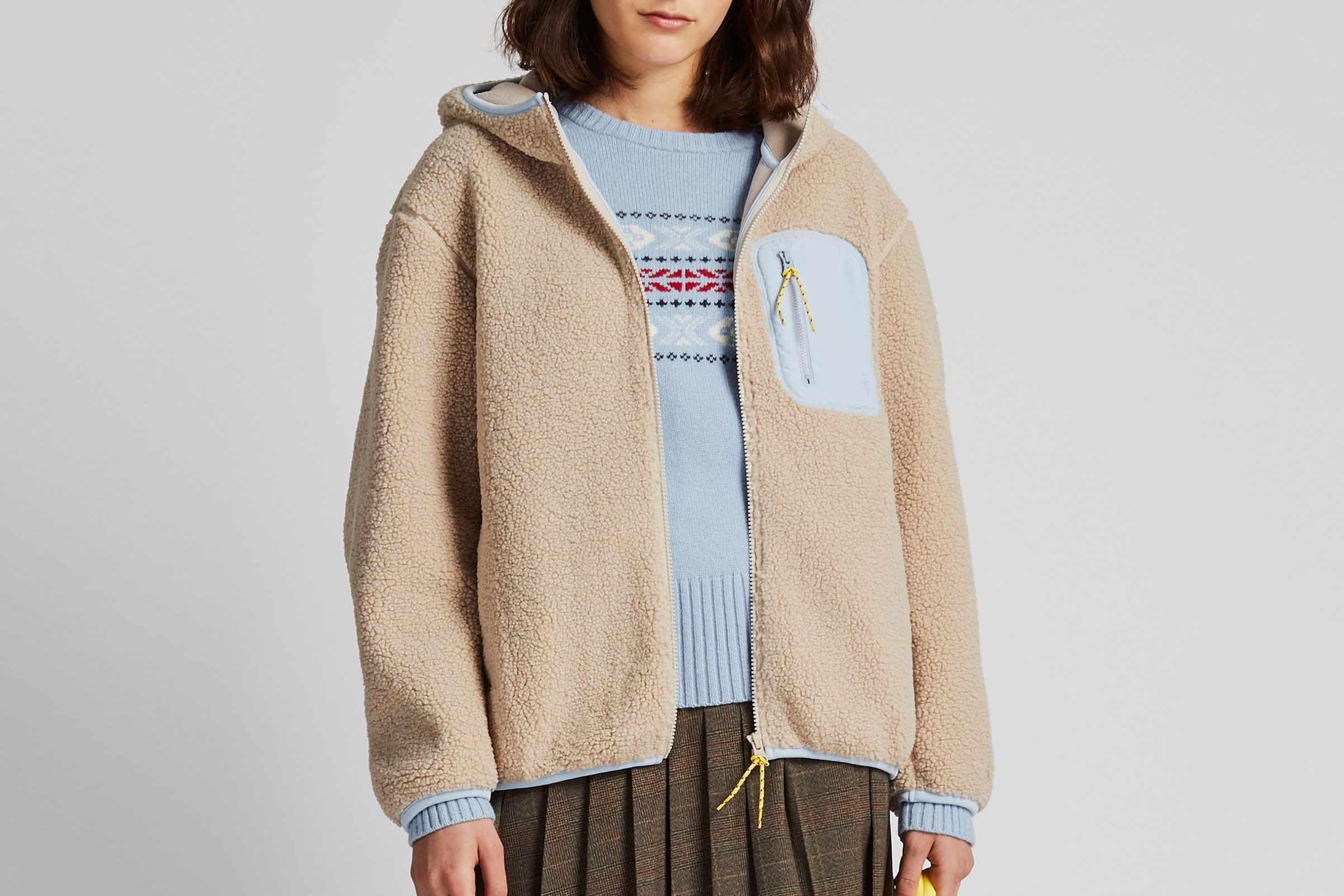 Uniqlo X JW Anderson Pile-Lined Fleece Long-Sleeve Full-Zip Hoodie