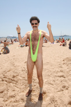 "Sacha Baron Cohen as ""Borat"" at the Cannes Beach in Cannes, France. (Photo by George Pimentel/WireImage)"