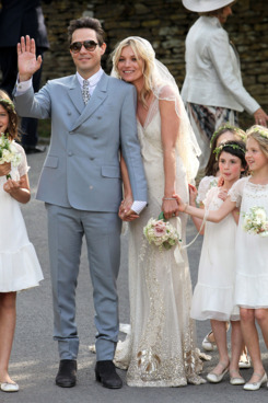 Jamie Hince and Kate Moss outside the church after their wedding on July 1, 2011 in Southrop, England.