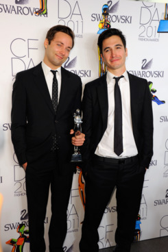 NEW YORK, NY - JUNE 06:  Womenswear Designer of the Year Award honorees Jack McCollough (L) and Lazaro Hernandez (R) pose backstage at the 2011 CFDA Fashion Awards at Alice Tully Hall, Lincoln Center on June 6, 2011 in New York City.  (Photo by Andrew H. Walker/Getty Images)