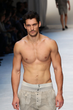 MILAN, ITALY - JUNE 18:  Model David Gandy walks the runway during the Dolce & Gabbana fashion show as part of Milan Fashion Week Menswear Spring/Summer 2012 on June 18, 2011 in Milan, Italy  (Photo by Vittorio Zunino Celotto/Getty Images)