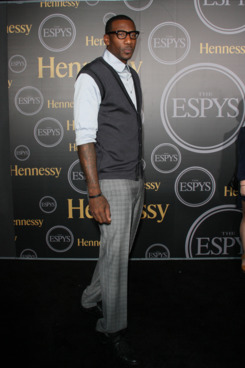 "HOLLYWOOD, CA - JULY 12:  NBA Player Amare Stoudemire arrives at the official ESPY pre-party ""Vault Of Secrets"" at The Spot 5750 on July 12, 2011 in Hollywood, California.  (Photo by Paul Archuleta/FilmMagic)"