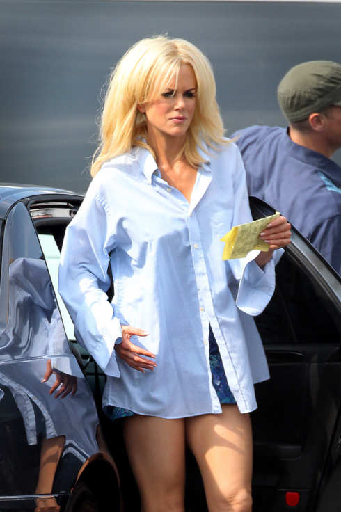 Nicole Kidman seen with bleach blonde hair and wearing white stilettos filming her new movie, 'The Paperboy' in New Orleans, LA. <P> Pictured: Nicole Kidman <P> <B>Ref: SPL301489  030811  </B><BR/> Picture by: Aaron St. Clair / Splash News<BR/> </P><P> <B>Splash News and Pictures</B><BR/> Los Angeles:310-821-2666<BR/> New York:212-619-2666<BR/> London:870-934-2666<BR/> photodesk@splashnews.com<BR/> </P>