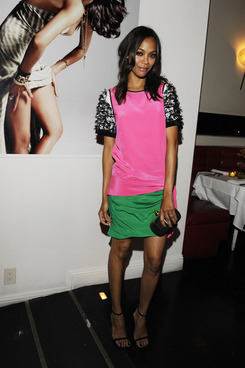 "LOS ANGELES, CA - AUGUST 19: Actress Zoe Saldana hosts the Flaunt Magazine and Gypsy 05 Present ""The Neo-Golden Age"" on August 19, 2011 in Los Angeles, California. (Photo by Amy Graves/WireImage)"