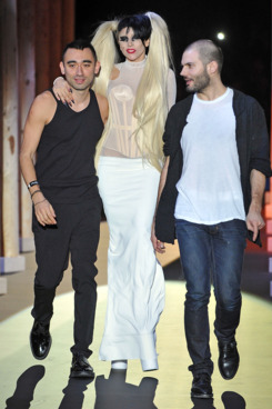PARIS, FRANCE - MARCH 02:  Nicola Formichetti, Lady Gaga and Sebastian Peigne walk the runway during the Thierry Mugler Ready to Wear Autumn/Winter 2011/2012 show during Paris Fashion Week at Gymnase Japy on March 2, 2011 in Paris, France.  (Photo by Francois Durand/Getty Images) *** Local Caption *** Nicola Formichetti;Lady Gaga;Sebastian Peigne