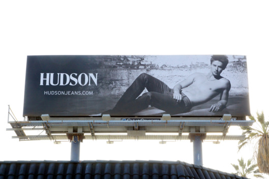 Patrick Schwarzenegger who has booked a modeling campaign for Hudson jeans has his image for all to see on a billboard on top of the bar Happy Ending in Hollywood. The bar is located on a busy intersection of Sunset Boulevard and the half naked Patrick billboard is placed on its roof. Happy ending has been described as a dive bar with a frat party like atmosphere where they have a beer pong dance floor on the weekends.  <P> Pictured: Patrick Schwarzenegger <P> <B>Ref: SPL303998  110811  </B><BR/> Picture by: Splash News<BR/> </P><P> <B>Splash News and Pictures</B><BR/> Los Angeles:310-821-2666<BR/> New York:212-619-2666<BR/> London:870-934-2666<BR/> photodesk@splashnews.com<BR/> </P>