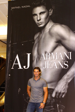 NEW YORK, NY - AUGUST 25: Rafael Nadal launches Armani Jeans campaign at Macy's Herald Square on August 25, 2011 in New York City. (Photo by Donna Ward/Getty Images)