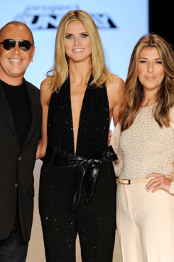 NEW YORK, NY - SEPTEMBER 09:  (L-R) Michael Kors, Heidi Klum, and Nina Garcia pose on the runway at the Project Runway Spring 2012 fashion show during Mercedes-Benz Fashion Week at The Theater at Lincoln Center on September 9, 2011 in New York City.  (Photo by Fernanda Calfat/Getty Images for Mercedes-Benz Fashion Week)