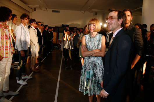 NEW YORK, NY - SEPTEMBER 09:  Anna Wintour and designer Antonio Azzuolo attend the Antonio Azzuolo Spring 2012 presentation during Mercedes Benz Fashion Week at Milk Studios on September 9, 2011 in New York City.  (Photo by Andy Kropa/Getty Images)