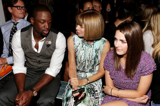 NEW YORK, NY - SEPTEMBER 09: (L-R) NBA player Dwyane Wade, Editor-in-Chief of American Vogue Anna Wintour and Bee Shaffer attend the Rag & Bone Spring 2012 fashion show during Mercedes-Benz Fashion Week at 330 West Street on September 9, 2011 in New York City.  (Photo by Paul Morigi/Getty Images)
