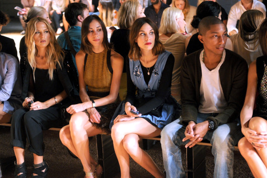 NEW YORK, NY - SEPTEMBER 14:  (L-R) Rachel Zoe, Gia Coppola,Alexa Chung and Pharrell Williams attends the Proenza Schouler Spring 2012 fashion show during Mercedes-Benz Fashion Week at 330 West Street on September 14, 2011 in New York City.  (Photo by Jamie McCarthy/WireImage)