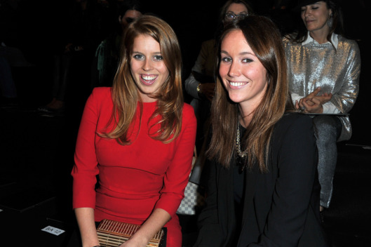 PARIS, FRANCE - OCTOBER 05:  Princess Beatrice of York and guest attend the Elie Saab Ready to Wear Spring / Summer 2012 show during Paris Fashion Week at Espace Ephemere Tuileries on October 5, 2011 in Paris, France.  (Photo by Pascal Le Segretain/Getty Images)