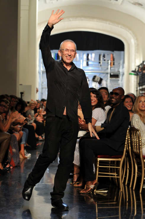 PARIS, FRANCE - OCTOBER 01:  Designer Jean Paul Gaultier acknowledges the applause of the audience after the Jean Paul Gaultier Ready to Wear Spring / Summer 2012 show during Paris Fashion Week  on October 1, 2011 in Paris, France.  (Photo by Pascal Le Segretain/Getty Images)
