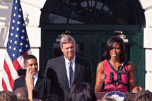 "From left: Alex Roman, Walsh Elementary School, Chicago, Illinois, Agriculture Secretary Tom Vilsack and First Lady Michelle Obama. Agriculture Secretary Tom Vilsack and First Lady Michelle Obama hosted a reception on the South Lawn of the White House in Washington, DC, Monday October 17, 2011 to honor the over 1200 winners in the HealthierUS Schools Challenge that met the First Lady's goal to double the number of participants in the HealthierUS School Challenge in a year. In February 2010, First Lady Michelle Obama introduced ""Let's Move"" incorporating the HealthierUS School Challenge into her campaign to promote a healthier generation of children. The HealthierUS School Challenge recognizes elementary, middle and high schools nationwide that create healthier school environments by providing exceptional nutrition education, nutritious food and beverage choices, physical education and opportunities for physical activity. Since the beginning of the HealthierUS School Challenge in 2004, awards have been given to schools in 44 states. As of September 28, 2011, there are 1631 schools certified. A tool kit on how to become a Healthier U.S. School can be found at www.fns.usda.gov."