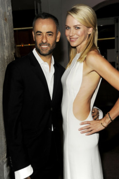 NEW YORK, NY - SEPTEMBER 15: Francisco Costa and Naomi Watts attend the Calvin Klein Collection dinner at ABC Kitchen on September 15, 2011 in New York City. (Photo by Rabbani and Solimene Photography/Getty Images)