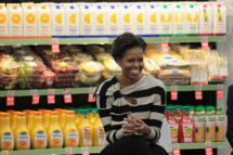 "CHICAGO, IL - OCTOBER 25:  First lady Michelle Obama visits a Walgreens store that sells produce on October 25, 2011 in Chicago, Illinois. The visit was part of the first lady's ""Let's Move!"" initiative, which is designed to promote healthy eating and lifestyles in low-income areas. While visiting the city the first lady also took a tour of an urban farm.  (Photo by Scott Olson/Getty Images)"