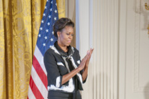 Manadatory Credit: Photo by Patsy Lynch / Rex Features (1485157e) Michelle Obama President's Commission on the Art and Humanities, Washington, D.C., America - 02 Nov 2011 First Lady Michelle Obama attends the annual President's Commission on the Art and Humanities (PCAH) at the White House. This program highlights the importance of after-school and out of school arts and humanities education  (Rex Features via AP Images)