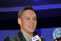 LONDON, ENGLAND - JULY 01:  Win Butler of Arcade Fire accepting the Hard Rock Ambassadors of Rock Award at the Nordoff Robbins O2 Silver Clef Awards, at the London Hilton on July 1, 2011 in London, England.  (Photo by Jon Furniss/WireImage)