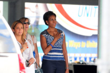 HOMESTEAD, FL - NOVEMBER 20: First lady Michelle Obama attends a special BBQ lunch with service members and military families from the local community prior to NASCAR Sprint Cup Series Ford 400 at Homestead-Miami Speedway on November 20, 2011 in Homestead, Florida. (Photo by Vallery Jean/FilmMagic)