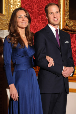Britain's Prince William and his fianc?e Kate Middleton pose for photographers during a photocall to mark their engagement, in the State Rooms of St James?s Palace, central London on November 16, 2010.  Prince William will marry his girlfriend Kate Middleton next year, the royal family said Tuesday, in the biggest royal wedding in Britain since his parents Charles and Diana married in 1981.  The announcement ended feverish speculation about when the second-in-line to the throne would wed, after a romance that has already lasted nearly eight years.q