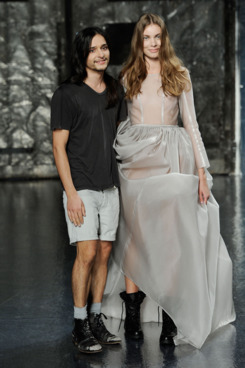 Designer Olivier Theyskens walks the runway at the Theyskens' Theory Spring 2012 fashion show during Mercedes-Benz Fashion Week at Center 548 on September 13, 2011 in New York City.