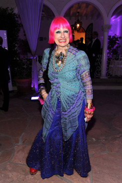 Designer Zandra Rhodes arrives at BritWeek's reception at the British Consul General's residence on April 26, 2011 in Los Angeles, California.