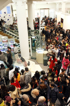 Shoppers crowd a department store on its opening hour on Boxing Day.