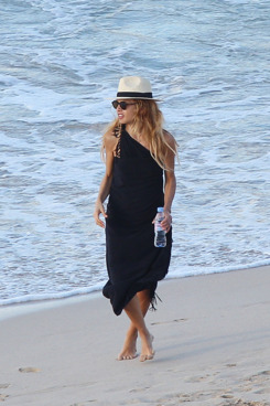 Rachel Zoe and family spend the day at the beach in St Barts.