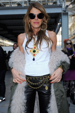 Anna Dello Russo attends the Costume National Homme fashion show on January as part of Milan Fashion Week Menswear Autumn/Winter 2012 14, 2012 in Milan, Italy. on January 14, 2012 in Milan, Italy.