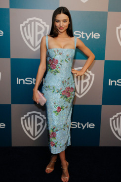 Model Miranda Kerr arrives at 13th Annual Warner Bros. And InStyle Golden Globe Awards After Party at The Beverly Hilton hotel on January 15, 2012 in Beverly Hills, California.
