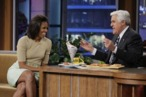 THE TONIGHT SHOW WITH JAY LENO -- Episode 4188 -- Pictured: (l-r) First Lady Michelle Obama during an interview with host Jay Leno on January 31, 2012 -- Photo by: Stacie McChesney/NBC