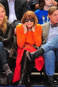 Julia Stiles, Anna Wintour and Shelby Bryan attend the Chicago Bulls VS New York Knicks at Madison Square Garden