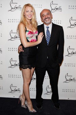 Actress Blake Lively and designer Christian Louboutin attend the Christian Louboutin Cocktail party at Barneys New York on November 1, 2011 in New York City.