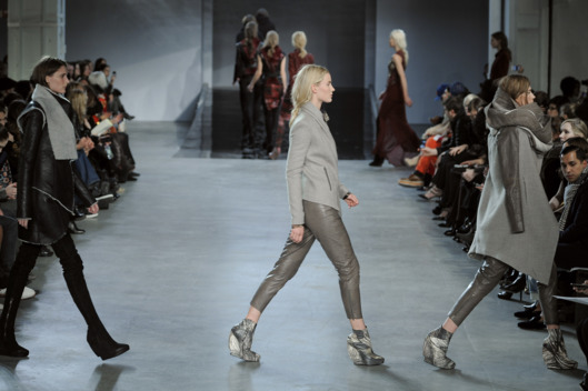 Models walk the runway at the Helmut Lang Autumn Winter 2012 fashion show
