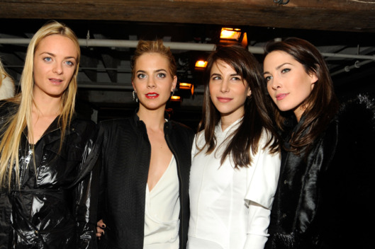 (L-R) Virginie Courtin-Clarins, Jenna Courtin-Clarins, Caroline Sieber and CEO of Proenza Schouler and Prisca Courtin-Clarins attend the Altuzarra Fall 2012 fashion show