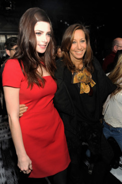 Actress Ashley Greene and designer Donna Karan attend the DKNY Women's Fall 2012 fashion show