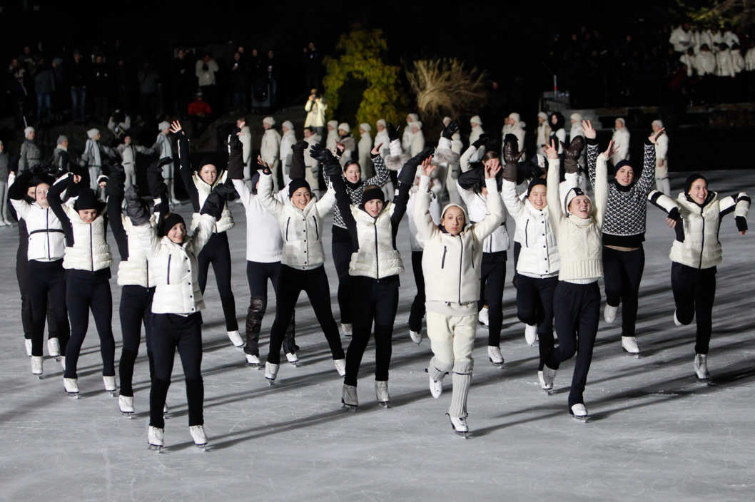 Models skate during the Moncler Grenoble fall 2012 presentation during Mercedes-Benz Fashion Week at Wollman Rink Central Park on February 12, 2012 in New York City.