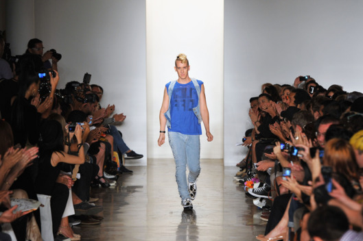 Designer Jeremy Scott walks the runway at the Jeremy Scott Spring 2012 fashion show