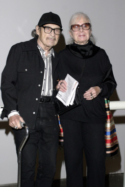 "Lillian Bassman (R) and guest pose at the CFDA hosted viewing of MOMA's ""Fashioning Fiction in Photography Since 1990""  April 22, 2004 in Queens, New York."