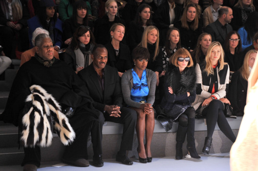(L-R) Andre Leon Talley, Julius Tennon, actress Viola Davis, Editor-in-Chief of Vogue Anna Wintour and professional tennis player Maria Sharapova attend the Vera Wang Fall 2012 fashion show