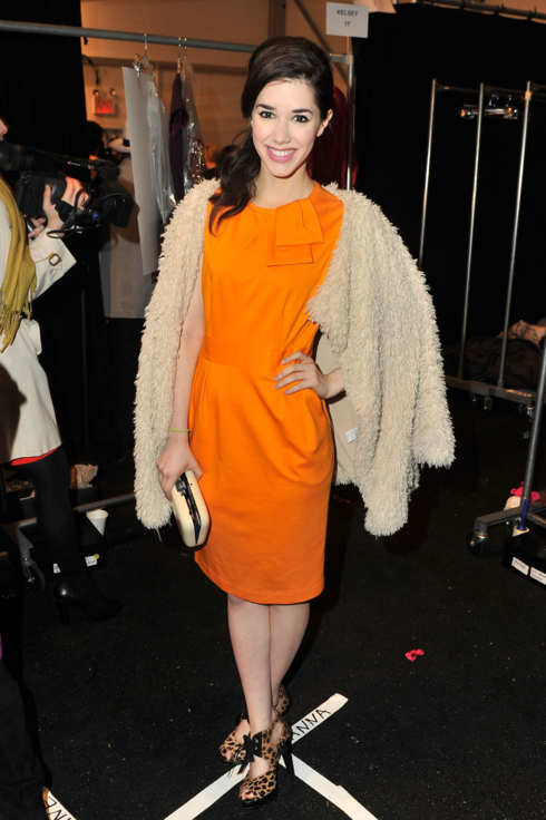 Actress Erica Dasher poses backstage at the Nanette Lepore Fall 2012 fashion show