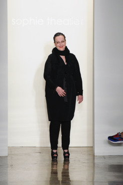 Designer Sophie Theallet walks the runway at the Sophie Theallet fall 2012 fashion show during Mercedes-Benz Fashion Week at Milk Studios on February 14, 2012 in New York City.