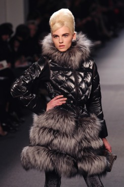 Model Andrej Pejic displays a creation by French designer Jean Paul Gaultier during the Autumn/Winter 2011-2012 ready-to-wear collection show on March 5, 2011 in Paris.