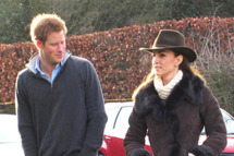 SANDRINGHAM, NORFOLK, UK, DECEMBER 30 2011: Prince Harry and Kate Middleton, the Duchess of Cambridge, arrive at Castle Rising near Sandringham, Norfolk on Christmas eve in matching Wellington boots to watch Prince William play in a football match organised by Lord Howard. (Credit: Newsteam)