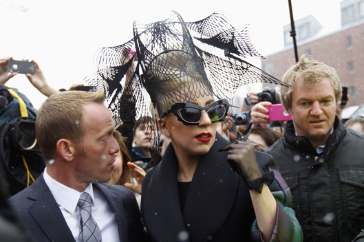 Lady Gaga arrives at Harvard University to launch her Born This Way Foundation in Cambridge, Massachusetts February 29, 2012.   REUTERS/Brian Snyder    (UNITED STATES - Tags: ENTERTAINMENT)