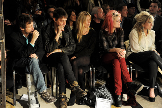 Dan Macmillan, Jamie Hince, Kate Moss, Alison Mosshart and Jo Wood attend the James Small Menswear Autumn/Winter 2012 show